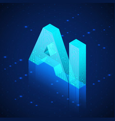 ai hologram artificial intelligence isometric vector image