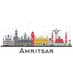 Amritsar india city skyline with gray buildings vector
