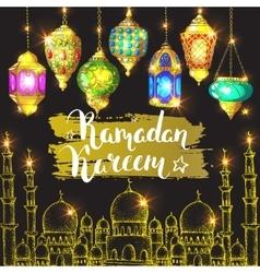 Arabic lantern and ink inscription vector image