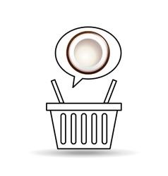 Basket market sweet coconut icon design vector