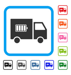 battery delivery truck framed icon vector image
