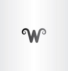 Black logo icon letter w symbol element vector