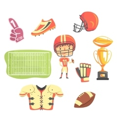 Boy american football player kids future dream vector