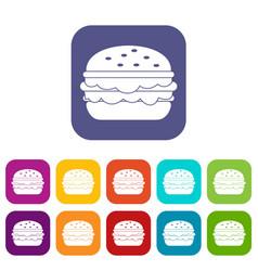 Burger icons set flat vector