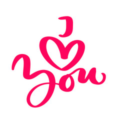 calligraphy phrase i love you valentines vector image