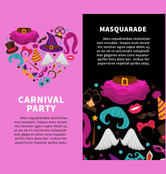 carnival masquerade party poster of masks and vector image