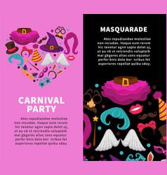 Carnival masquerade party poster of masks vector