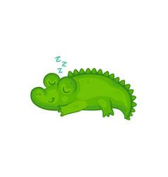 Cartoon crocodile basleeping and smiling vector