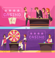 casino horizontal banners set vector image
