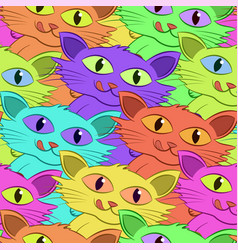 cat with fish tile pattern vector image