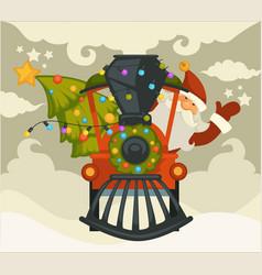 christmas holiday preparation santa claus with vector image