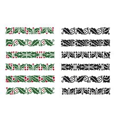 christmas holly berries border pattern set vector image