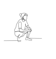 Continuous one line woman crouch sit vector