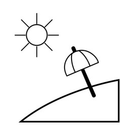 contour island with sun weather and umbrella open vector image