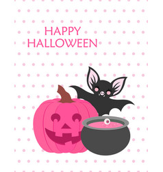 cute happy halloween poster vector image