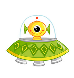 Cute space monster sitting in a flying saucer the vector