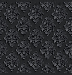 Dark damask seamless pattern background elegant vector