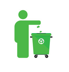 Dispose trash icon with man in green color vector
