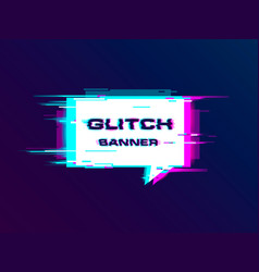 distorted glitch style promotion banner vector image