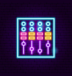 dj mixer neon sign vector image