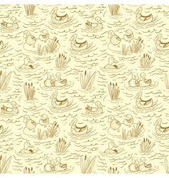 doodle seamless pattern with ducks and reed vector image