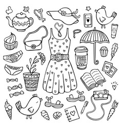 Doodle set of female clothes and cute objects vector