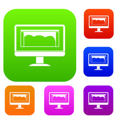 drawing monitor set color collection vector image