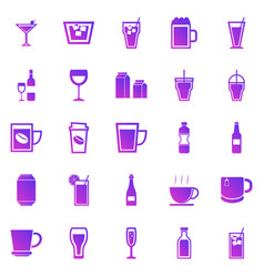 drink gradient icons on white background vector image