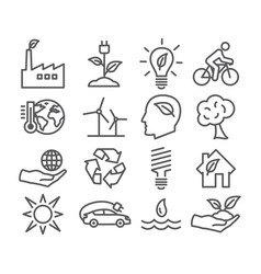 Ecology and recycling line icons vector