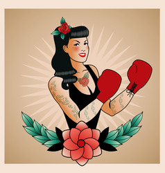 Emblem of pinup boxing girl with flowers tattoos vector