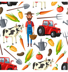 farmer agriculture cattle farm seamless pattern vector image