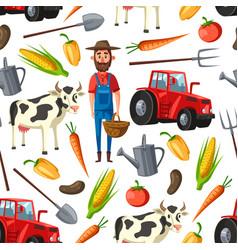Farmer agriculture cattle farm seamless pattern vector
