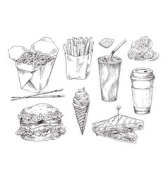 fast food snack collection isolated on white card vector image