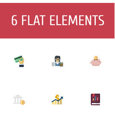 Flat icons net income bookkeeper moneybox and vector