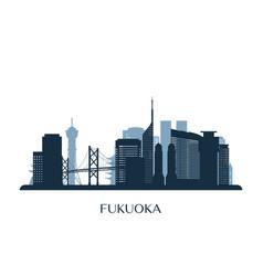 fukuoka skyline monochrome silhouette vector image
