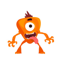 Funny one eyed monster with its tongue out vector