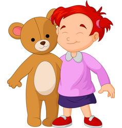 girl cartoon a hugging a big teddy bear toy vector image