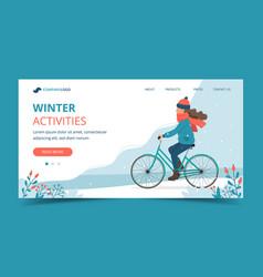 Girl riding bike in park in winter landing vector