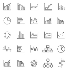 Graph line icons on white background vector