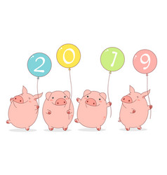 happy chinese new year 2019 - year of the pig vector image