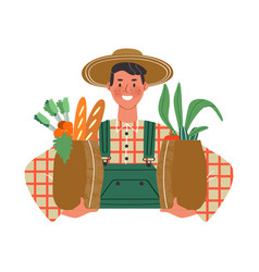 happy farm man holding paper grocery bag vector image