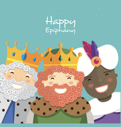 Happy three kings smiling on a green background vector