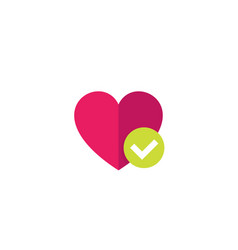 heart and tick icon flat style vector image