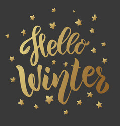 hello winter lettering phrase on dark background vector image