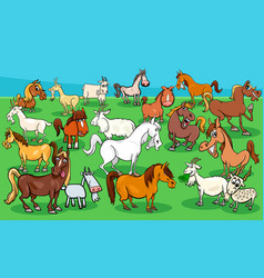 horses and goats farm animal characters group vector image