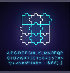 jigsaw puzzle neon light icon vector image