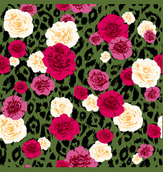 leopard print and floral sketch vector image