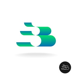 Letter B logo Elegant color 3D stripes style Wide vector image