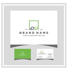 Letter du square logo finance design and business vector