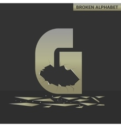Letter G Broken mirror vector